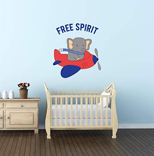Free Spirit muurdecoratie olifant op een vliegtuig muur Decal rood N blauw vliegtuig vliegen rond kwekerij Decor jongens kamer muur decoratie CG1566