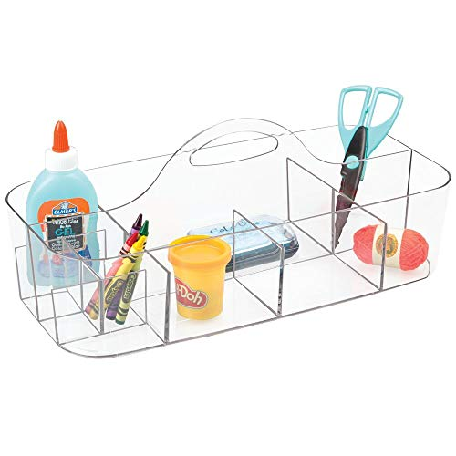 mDesign Plastic Portable Craft Storage Organizer Caddy Tote, Divided Basket Bin with Handle for Craft, Sewing, Art Supplies - Holds Paint Brushes, Colored Pencils, Stickers, Glue, X-Large - Clear