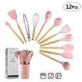 ZCOINS - Juego de utensilios de cocina de silicona con asas de madera y soporte, utensilios de cocina (rosado)