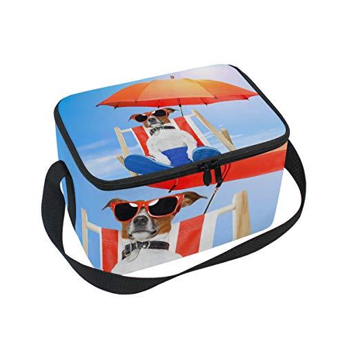 Lunchtasche Hund Sonnenbad auf Deck Stuhl Kühler für Picknick Schultergurt Lunchbox