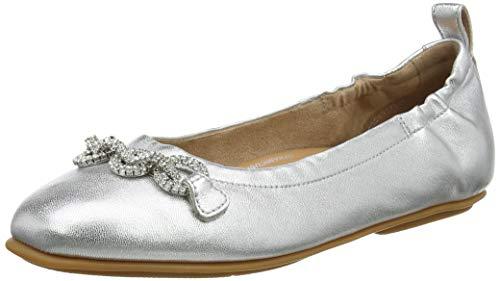 FitFlop Women's Allegro Ballerina-Crystal Chain Ballet Flat, Silver, 8.5 Narrow