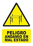 Señal peligro andamio en mal estado - PVC 0,7mm - 21 x 30cm – cartel señal peligro.