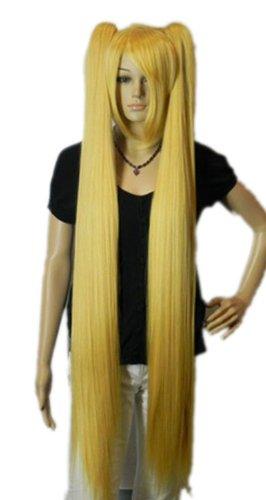 Qiyun Vocaloid Hatsune Miku 2 Clip-On Ponytails Longue Raide Cosplay Anime Costume Synthetique Cheveux Complete Perruque - Jaune