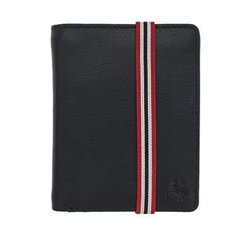 Visconti Colección Bond Cartera James de Cuero para Hombre RFID - BBD14 Negro/Naranja/Rojo