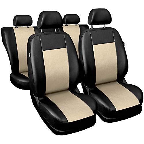 3er Set Saferide Autositzbezüge PKW universal | Auto Sitzbezüge Kunstleder Beige mit Airbag | für Vordersitze und Rückbank | 1+1 Autositze vorne und 1 Sitzbank hinten teilbar 2 Reißverschlüsse