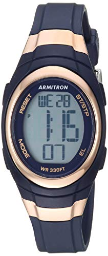 Armitron Sport Women's Quartz Sport Watch with Resin Strap, Blue, 11.8 (Model: 45/7034RNV)