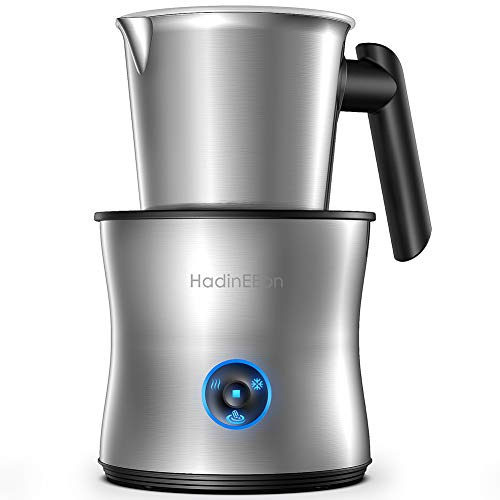 HadinEEon Milk Frother, 4 in 1 Electric Milk Frother and Hot Chocolate Maker, Dishwasher Safe, Auto Cold Hot Milk Steamer (6.7oz/13.52oz), Stainless Steel Coffee Frother for Cappuccino, Latte, 120V