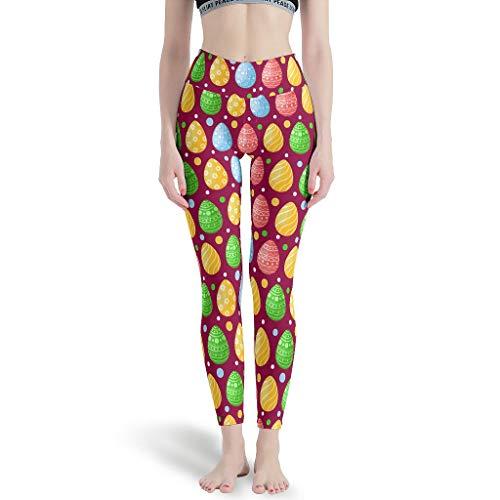 Ballbollbll Pantalones de yoga de Pascua para mujer, cintura alta y control de barriga, a todo color, impresos para pilates, gimnasio, correr, leggings diarios de ocio, blanco 2xl