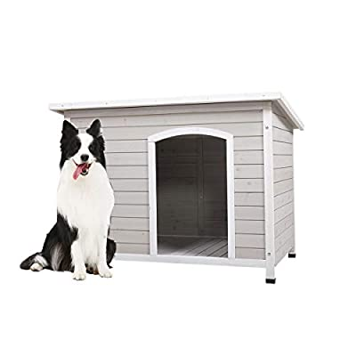 COZIWOW Outdoor Deluxe Slant-Roofed Wood Dog Pet House Shelter Kennel with Open Entrance, L, Grey&White