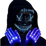 FunsLane Máscara LED de Halloween, máscara iluminada para cosplay, máscara de purga de cara de miedo con brillo LED para fiesta de festival, cosplay, decoración de Halloween brillante (azul)