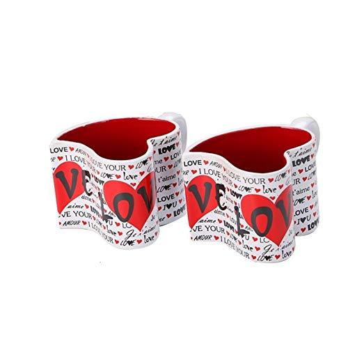 Taza de agua 2 unids/set 300 ml Copas de pareja de cerámica creativa de 300 ml amor corazones forma de porcelana Copa de café para la novia Regalos de cumpleaños envase