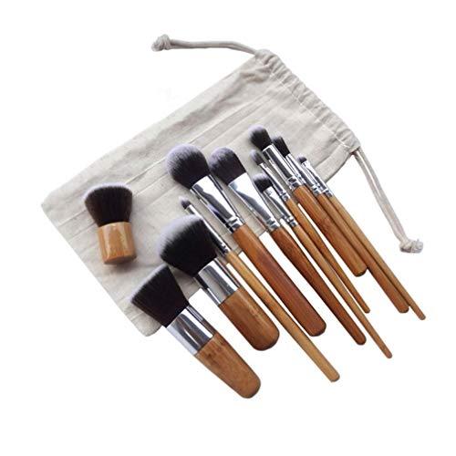 TOSSPER 11pcs pinceaux de Maquillage en Bambou Naturel avec Sac cosmétiques Professionnels Pinceau Eyeliner Kit Souple Kabuki Fondation Blending Outil