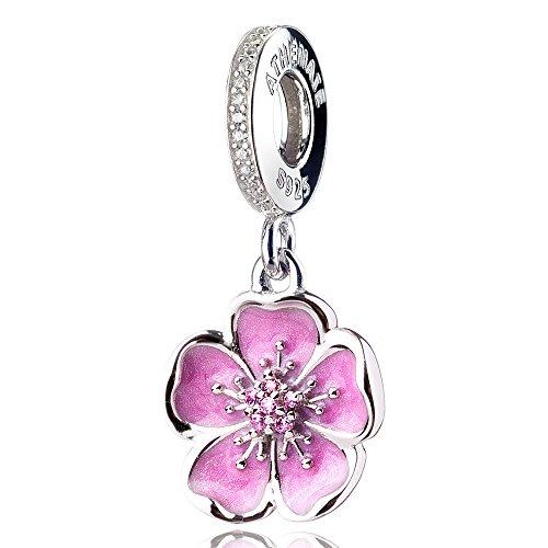 ATHENAIE 925 Sterling Silver Romantic Pink Enamel Plum Blossom Pendants with CZ...