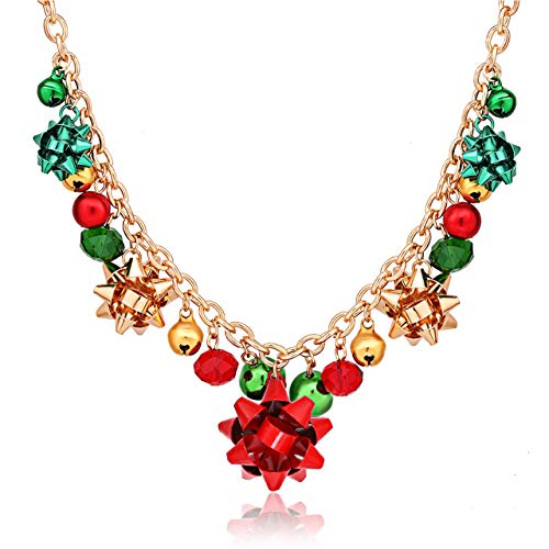 XOCARTIGE Christmas Necklace X-Mas Jingle Bell Necklaces Present Bow Pendant Necklace Present for Women Girls (A Gold)