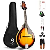 Vangoa Mandolin Instrument A Style Sunburst Acoustic Mandolin for Beginners with Tuner, Strings, Gig Bag, Picks
