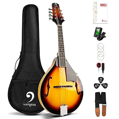 Vangoa Mandolina de 8 Cuerdas Acústica A-Estilo Tradicional Bluegrass Instrumento de Mandolinas para Principiantes, Sunburst