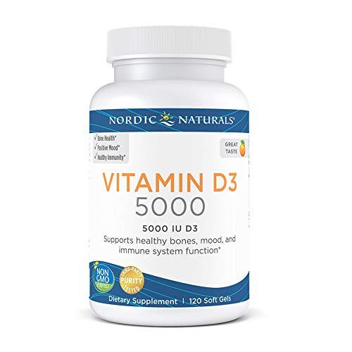 Nordic Naturals Vitamin D3 5000, Orange - 5000 IU Vitamin D3 - 120 Mini Soft Gels - Supports Healthy Bones, Mood & Immune System Function - Non-GMO - 120 Servings