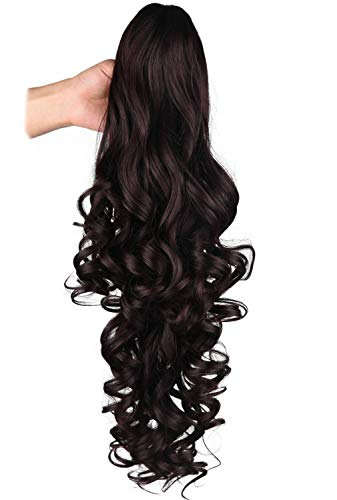 SEIKEA 24 Inch Claw on Ponytail Extension Women Hair Curly Wavy Pony Tail Hairpiece Jaw Clip - Dark Brown