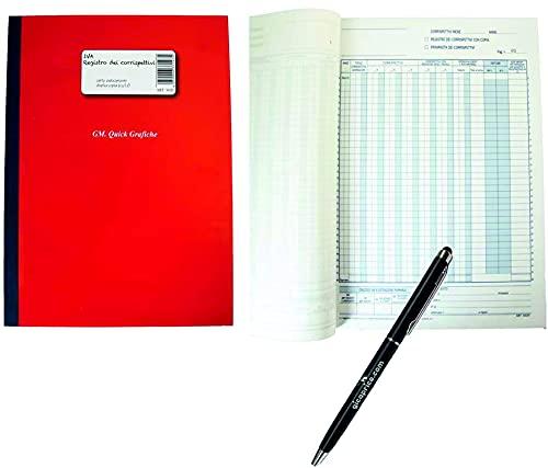 REGISTRO DEI CORRISPETTIVI AUTOCOPIANTE 13 MESI IN DUPLICE COPIA FORMATO A4 29.7X21 + PENNA TOUCH OMAGGIO