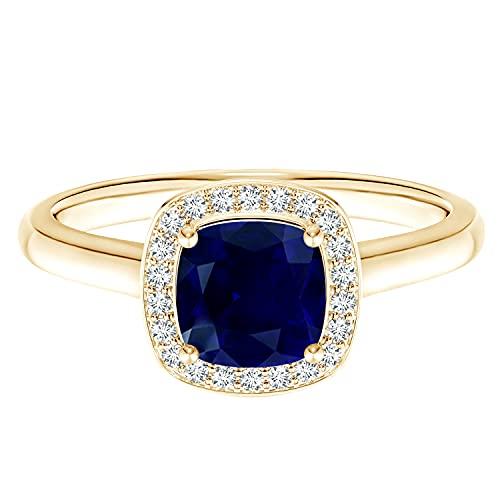Anillo de compromiso solitario de oro amarillo de 9 k con piedras preciosas de zafiro azul de talla cojín de 0,75 quilates (Oro amarillo, 13.5)