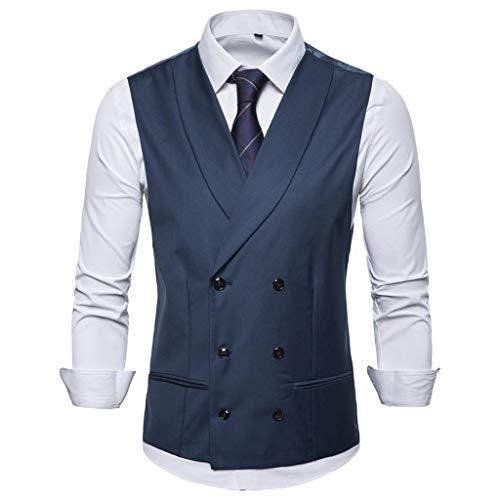PPangUDing Weste Herren Ärmellose Blazer Anzug Business V-Ausschnitt Anzugweste Zweireihige Hochzeit Sakkos Western Slim Fit Smoking Herrenweste Herrenanzug Elegant Vest (L, Blau)