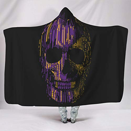 RNGIAN Purple Skull Chic Incoloro Portátil Manta con capucha para sofá cama en climas fríos, estilo cálido blanco 150 x 200 cm
