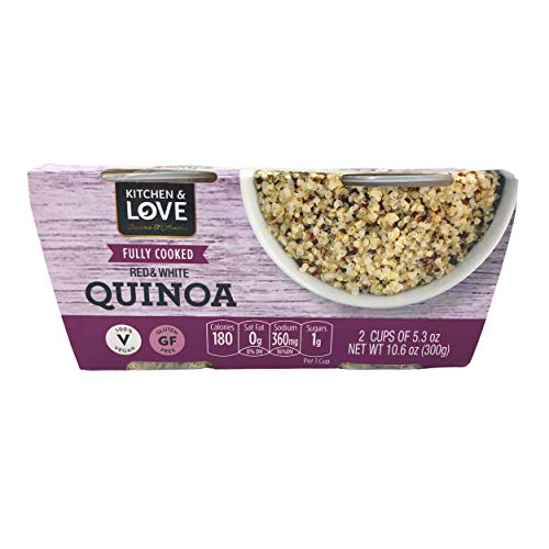 Kitchen & Love Fully Cooked Red & White Quinoa 12-Cups | Vegan, Gluten-Free, Ready-to-Eat, No Refrigeration Required