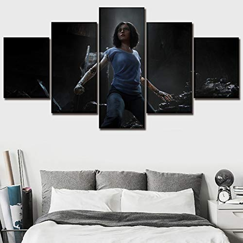 QYY Hot Movie Poster Alita Battle Angel Canvas Painting 5 Panel Modern Home Decor Bedroom Wall Art Modular Picture Print Artwork