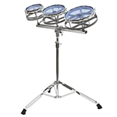 """6"""", 8"""" and 10"""" quick tune toms Cast metal frame toms Heavy duty height adjustable double braced stand Perfect add-on for any drum set"""