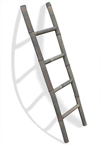 LioLiving®, Handtuchhalter/Dekoleiter aus Bambus (Einfachleiter, grau) (#400125)