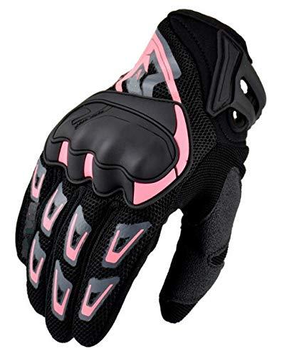 Sommer Touchscreen Motorrad Reithandschuhe Vollfingernetz atmungsaktive Offroad Motorradhandschuhe Offroad Bike Handschuhe - SU11-Pink, L.