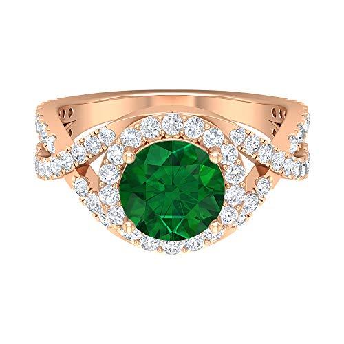 Anillo de compromiso con vástago espiral, D-VSSI 3 CT moissanite, anillo de esmeralda creado en laboratorio de 8 mm, anillo de piedras preciosas de halo, 14K Oro rosa, Size:EU 60