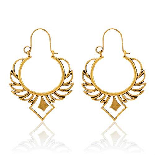 QIN Vintage Ancient Coopers Color Hollow Ear Ear Anillos Mujeres Mujeres Geométricas Alas Alloy Pendientes Brincos Joyería