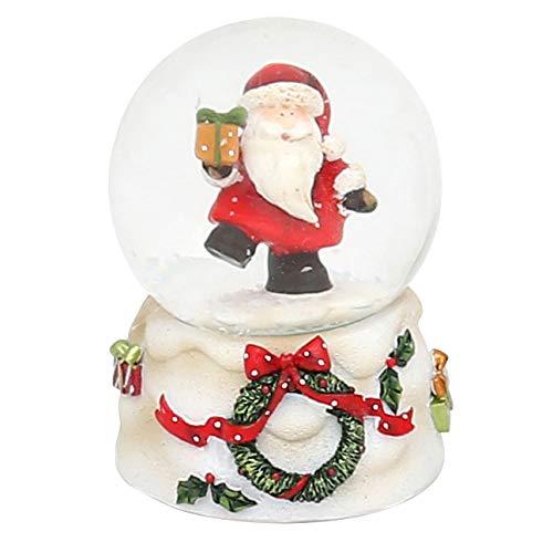 Dekohelden24 Mini-Schneekugel mit Weihnachtsmann, weißer Sockel mit Kranz, Maße L/B/H: 4,5 x 4,5 x 6,8 cm Kugel Ø 4,5 cm.