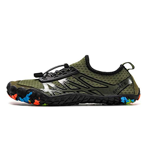 BGROESTWB Zapatos de Agua El Agua al Aire Libre Senderismo Natación Zapatos Zapatos de los Pares de la Playa de la Piel Hombres Adecuado para Nadar Surf (Color : Green, Size : 39)