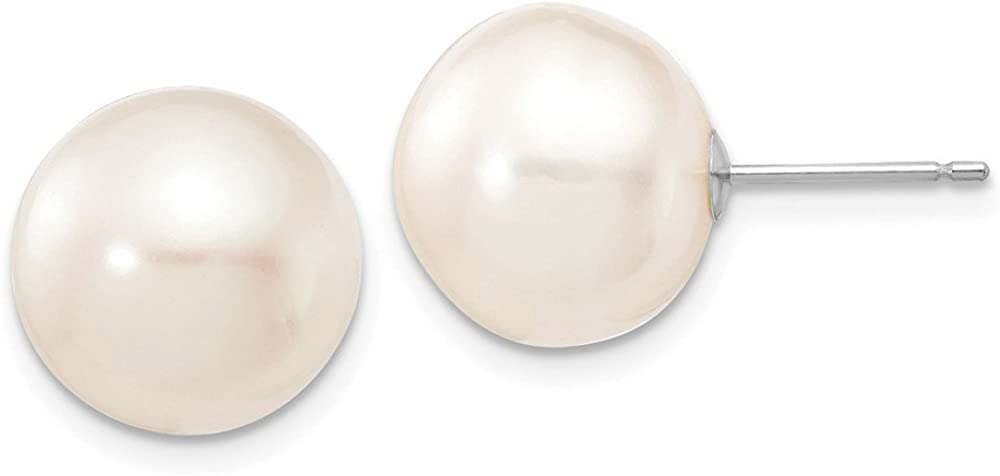Solid 14k White Gold 11-12mm White Button FW Cultured Pearl Stud Earrings