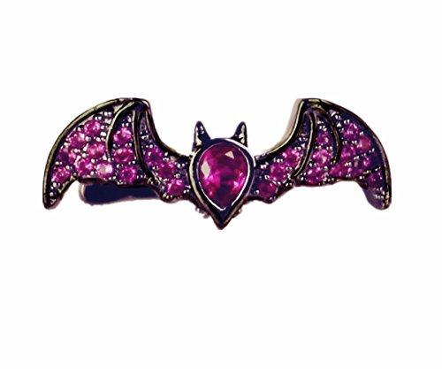 Cherryzz Fashion asimmetrico Gun nero scintillante Glaring cristallo a forma di pipistrello orecchini polsino clip