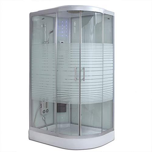 Home Deluxe - Komplettdusche 120x80 rechts - Duschtempel White Pearl mit Regendusche | Fertigdusche, Dusche, Duschkabine Komplett