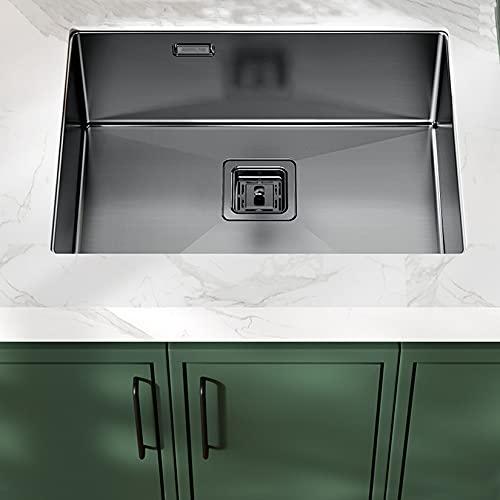 XLOO Fregadero de Cocina,Acero Inoxidable 304,Nano-Revestido,Grifo (Opcional),Fregadero de Cocina con Rebosadero Y Dispositivo de Drenaje,50x43cm / 60x43cm / 70x43cm / 75x43cm