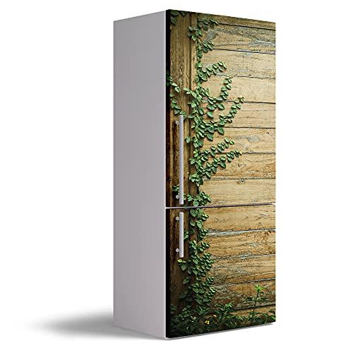 Vinilo Adhesivo Decorativo para Nevera, 60 x 185 cm, Varias Medidas, Impermeable y Resistente, Decoración para Muebles de Cocina, Puerta de Madera y Enredadera, VNL-N039