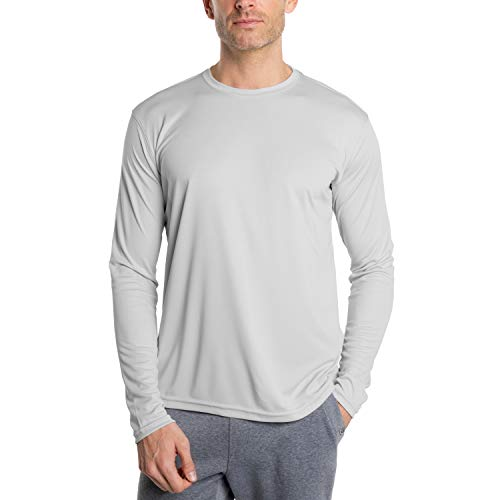 Vapor Apparel Men's UPF 50+ UV Sun Protection Outdoor Performance Long Sleeve T-Shirt Large Pearl Grey