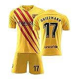 サッカーユニフォーム子供大人用バルセロナ背番号17上下セットジャージとソックス サッカージャージ Tシャツ半ズボン サッカーウェア レプリカマッチ トレーニングチームスポーツウェア 通気性 ユニセックス (Color : Yellow, Size : Large)