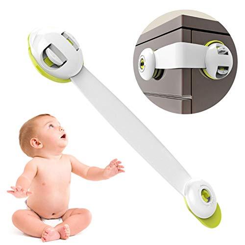 Cerradura de cinturón de seguridad para niños de 6 piezas, cerradura de puerta de armario a prueba de pellizcos para bebés, cerradura protectora de cajón de cerradura de refrigerador