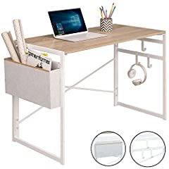 【Free Your Hands】When you receive this writing computer desk, open the metal frame and then fasten the desktop to the frame, the computer desk is assembled. Super easy to complete the desk without tools, this is a perfect gift to your parents, friend...