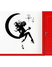 Adhesivo de pared de vinilo extraíble calcomanía de pared chica Hada Luna estrellas sueño adolescente decoración para habitación de niños Vinilos Parede 56X64Cm
