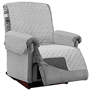 Sofa Shield Original Patent Pending Large Recliner Slipcover, Many Colors, Seat Width to 28 Inch, Reversible Furniture Protector with Straps, Chair Slip Cover Throw for Pet Dogs, Light Gray Charcoal