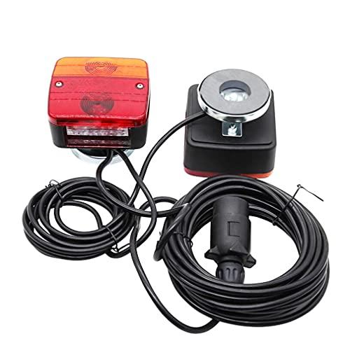Hawkeye Kit Bombillas de Luz Trasera de Remolque Iluminación Piloto Trasero con Base Magnética para camión Agrícola Caravana Maquinaria agrícola (ámbar & rojo-bulbo, caja de cartón)