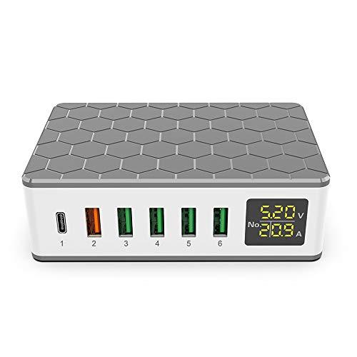 iLepo Fuente de alimentación USB C de 6 puertos de 65 W con cargador USB-C PD de 20 W y QC3.0 de 18 W compatible con auriculares, smartphone y otros dispositivos