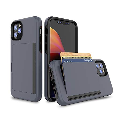 iPhone 12 Case, Erudite iPhone 12 Cell Phone Wallet Case Cover Credit Card Holder Flip Case Full Body Best Protective Soft Hybrid TPU Hard Durable No Scratch Shockproof for iPhone 12 Pro 6.1 (Blue)