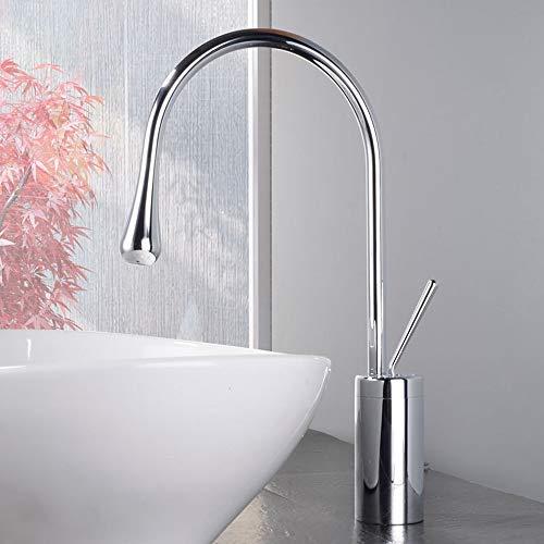 COOLSHOPY Cuarto de baño moderno en forma de gota caliente y fría cuenca del grifo del fregadero bajo el mostrador cuenca Sección alta burbuja de agua de 360 ° de rotación de salida del grifo hermos